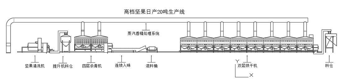 高档坚果日产20吨生产线